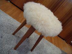 Vintage Lambs Wool Stool New Zealand Mid by Modern Stools, Lambs, Living Room Bedroom, Retro Style, Retro Fashion, New Zealand, Mid-century Modern, 1960s, Kids Room