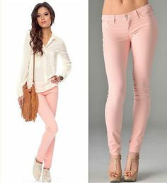 NWT BLUSH LIGHT BABY PINK PASTEL STRETCH Skinny Pencil COLOR Jeans Denim Pants