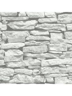 ARTHOUSE Moroccan Stone Brick Wall Wallpaper   White