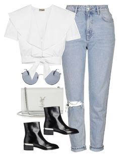 """""""Untitled #3905"""" by amyn99 ❤ liked on Polyvore featuring Yves Saint Laurent, Original Penguin, Topshop, Vince and Temperley London"""