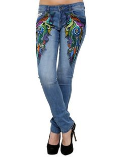 Jeans - Hand Painted Jeans - Hand Painted Doodled Feather Jeans - By Rang Rage - FLJN0006