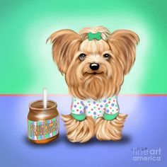 Yorkie Print featuring the painting Peanut Butter Lover by Catia Cho