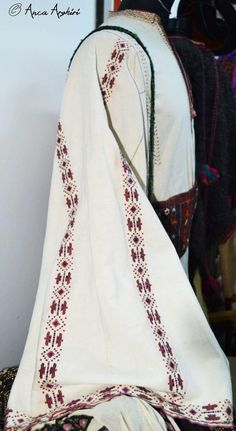 Romanian traditional clothing. Man's shirt detail. Adina Nanu collection