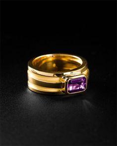 Tiffany & Co. 18K Amethyst Atlas Ring