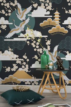 Don't shy away from darks walls, this wallpaper mural proves how sumptuous and beautiful they can be. With dark green and golden hints throughout, this design would add instant glamour to your living spaces.
