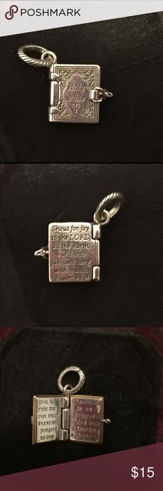 """Brighton bible charm. It opens! Listing is for a Brighton ABC Holy Bible charm in silver plated finish. """"Holy Bible"""" is inscribed on the front and Psalm 98, verse 4 is etched on the back. Inside is an excerpt from the Lord's Prayer.  See last photo for ideas on how to use this charm.   **More jewelry in closet, including items shown in 4th photo. Bundle up and save 20% on 2 listings!** Brighton Jewelry"""