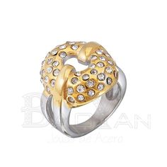 """Gold plated rhinestone silver stainless steel  unique rings"""