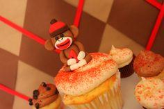 Cupcakes at a Sock Monkey Party #sockmonkey #cupcakes Sock Monkey Cupcakes, Sock Monkey Party, Sock Monkey Birthday, Monkey Birthday Parties, Fancy Cupcakes, Yummy Cupcakes, Cupcake Cookies, Cupcake Toppers, Kids Birthday Cupcakes