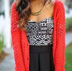 Tribal black and white with red sweater