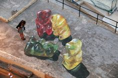 Gummy Bears by Leon Keer via thisiscolossal: Optical illusion. #Street_Art #Gummy_Bears