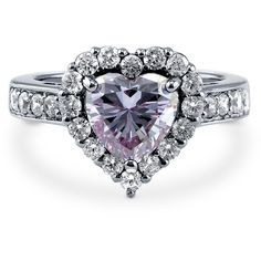 BERRICLE Sterling Silver 2.43 ct.tw Purple CZ Halo Heart Engagement... ($50) ❤ liked on Polyvore featuring jewelry, rings, purple, sterling silver, women's accessories, round cut engagement rings, heart ring, purple engagement rings, cubic zirconia engagement rings and sterling silver band rings