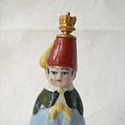 Art Deco Heinz German Porcelain Turkish Boy Crown Top Perfume Scent Bottle