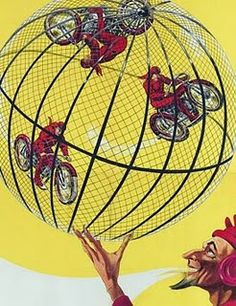 Vintage circus poster for  motorcycle daredevils. 1928