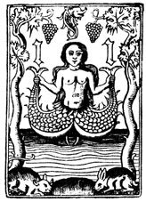 """French medieval image of Melusine, a feminine spirit, some say a goddess, of fresh waters in sacred springs and rivers.  She is usually depicted as a woman who is a serpent or fish from the waist down (much like a mermaid). She is also sometimes illustrated with wings, two tails or both, and sometimes referred to as """"nixie"""" or Neck. - wicki"""