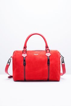 Sunny Medium Suede Bag, carmin, Zadig & Voltaire