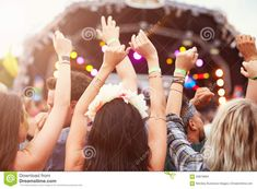 Photo about Audience with hands in the air at a music festival. Image of shoulders, excited, festival - 59879684 Summer Music Festivals, Hands In The Air, Going To Rain, Take A Nap, Serial Killers, Listening To Music, First Time, All About Time, Improve Yourself