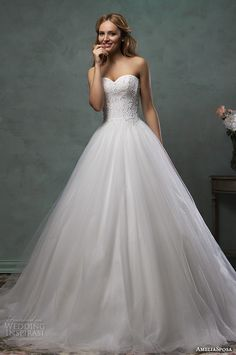 amelia sposa 2016 wedding dresses strapless sweetheart neckline beaded bodice pretty ball gown a line dress monica