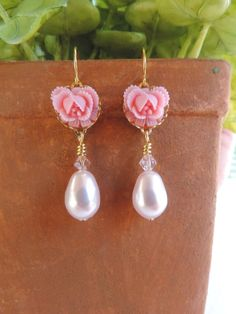 Pretty in Pink Pearl Dangle Earrings - Swarovski Teardrop Pearl, Pink Resin Ruffled Roses, Czech Glass Beads - Bride and Bridesmaids Gifts