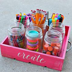 """Create"" Stenciled Back-to-School Caddy -- Organize supplies using a simple wooden crate. #decoartprojects"