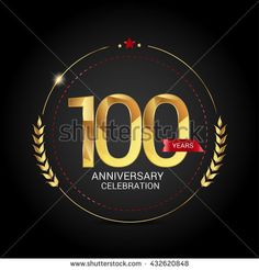 100 golden anniversary logo with red ribbon, low poly design number - stock vector
