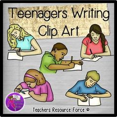 Teenagers Writing - Color & Black line