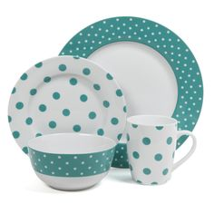 This bold 16-piece ceramic dinnerware set features a fun polka-dot pattern consisting of teal and white. Dishwasher and microwave safe, the set includes plates, bowls and mugs.