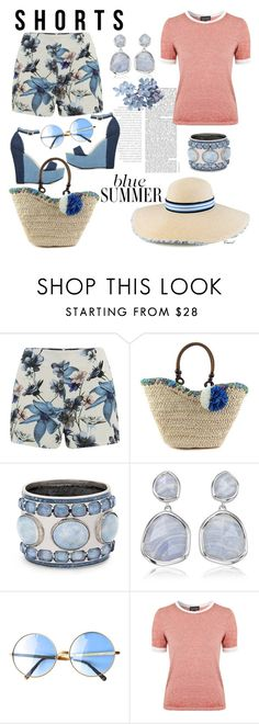 """""""Summer Shorts"""" by hastypudding ❤ liked on Polyvore featuring ONLY, ShoeDazzle, Maison Michel, Chico's, Monica Vinader, Topshop, strawbags, fashionset and estyle"""