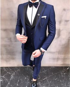 Description: Collection: Spring – Summer 2020 Product: Slim-Fit Tuxedo Color Code: Blue Size: Material: Viscose, Polyester Machine Washable: No Fitting: Slim-fit Package Include: Jacket, Vest, Pants, Chain and Bow Tie Dry Clean Only Black Suit Wedding, Tuxedo Colors, Slim Fit Tuxedo, Blue Costumes, Classy Men, Groom Wear, Black Suits, Mens Suits, Suit Jacket