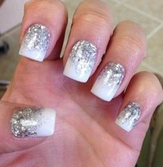 White and Silver Sparkle Gel Nails