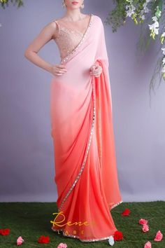 Peach & Tangerine Ombre Saree Saree Designs Party Wear, Saree Blouse Designs, Designer Party Wear Dresses, Indian Designer Outfits, Simple Saree Designs, Chiffon Saree Party Wear, Sarees For Girls, Lehnga Dress, Saree Trends