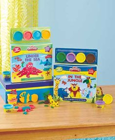Kids can join some of their favorite animals as they go exploring with this Animal Creations Book and Play-Doh set. The book provides them with facts about diff