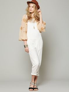 Free People Free People Straight Eyelet Overall, $148.00