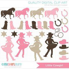 Little Cowgirl Silhouette Clip Art / Digital by MyClipArtStore