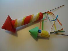 Vuurwerk/ oud en nieuw/wc rol: Beschilder wc en keukenrollen. Plak hierin een bamboestokje, en niet aan de onderkant gekleurde strookjes papier. Neem een rondje stevig papier en knip een inkeping tot in het midden: voew hier een kegelvorm van en bevestig deze aan de bovenzijde van de vuurpijl.
