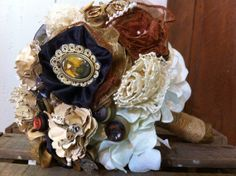 Steampunk Victorian style wedding bouquet by PistonsandPosies, $90.00