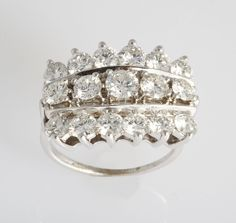 Triple Row Diamond Ring | From a unique collection of vintage cocktail rings at https://www.1stdibs.com/jewelry/rings/cocktail-rings/