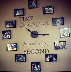 Time spent with Family Clock.Vinyl letters for clock $24.95. Just pick your color, add your own clock, family pictures and frames. Item #20983. http://lisabellar.uppercaseliving.net/
