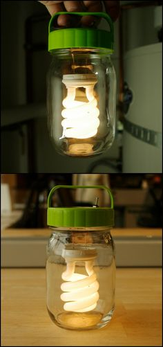 Make Your Own Floating Light Bulb Jar Lantern