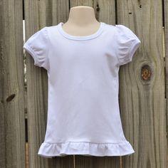 Girl's puff sleeve short sleeve white embroidery blank shirt