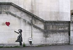 Pseudonymous England-based graffiti artist, political activist, film director, and painter. Known best for his satirical street art.    Banksy- Balloon girl.