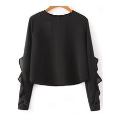 SheIn(sheinside) Black Long Sleeve Ruffle Crop Blouse (€15) ❤ liked on Polyvore featuring tops, blouses, sheinside, sweaters, black, black blouse, long sleeve blouse, black long sleeve top, collared crop top and black crop top