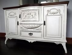 SOLD!! Vintage Solid Mahogany Upcycled Sideboard in Annie Sloan Old White