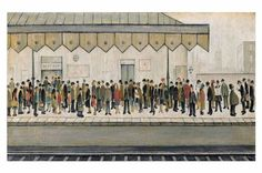 Laurence Stephen Lowry, R. The Railway Platform signed and dated 'L S LOWRY (lower right) oil on canvas 18 x 30 in. Salford, Spencer, Ferrat, English Artists, Urban Life, Art For Art Sake, Beach Scenes, Famous Artists, British Artists