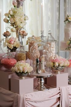 Antique Cake Topper in Glass Dome | Blush And Pink Dessert Tablescape by The Mischief Maker
