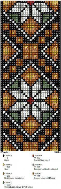 Bunad, Smykker, vev & rosemaling: Nytt sett med perlemønster i gyldne toner. Seed Bead Patterns, Peyote Patterns, Weaving Patterns, Cross Stitch Patterns, Bead Loom Bracelets, Beaded Bracelet Patterns, Bead Crochet, Pixel Crochet, Beadwork Designs