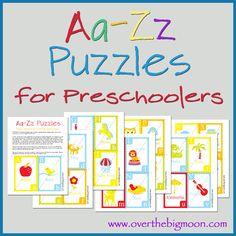 Aa-Zz Puzzles for preschoolers!  Free printable set of Alphabet printables!