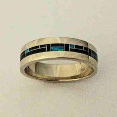 Men's blue opal and lapis lazuli wedding band