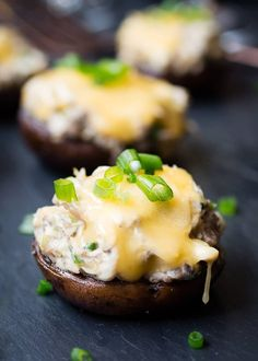 These rich Gouda and Crab Stuffed Mushrooms, with sweet lump crab meat, garlic, and Dijon, are a perfect appetizer or side dish for any celebration. Crab Stuffed Mushrooms, Roasted Mushrooms, Stuffed Peppers, Keto Mushrooms, Appetizer Dips, Appetizer Recipes, Cheese Appetizers, Mushroom Appetizers, Yummy Appetizers
