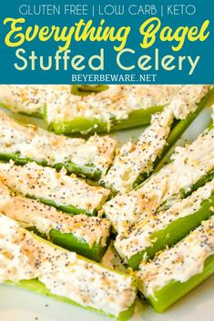 Everything Bagel Stuffed Celery is a low-carb appetizer that combines everything bagel seasoning with cream cheese and then stuffed in celery to make a simple 3-ingredient keto snack. Low Carb Appetizers, Appetizer Recipes, Dinner Recipes, Party Recipes, Healthy Snacks, Healthy Eating, Healthy Recipes, Vegetarian Recipes, Clean Eating