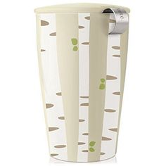 Tea Forte KATI Single Cup Loose Leaf Tea Brewing System, Insulated Ceramic Cup with Tea Infuser and Lid, Birch Forest - NEW Infuser Design